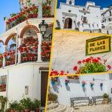Collage de Mijas avec des pots de fleur dans les façades Village blanc andalou Costa del Sol Image stock