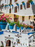 Collage de Mijas avec des pots de fleur dans les façades Village blanc andalou Costa del Sol Images stock