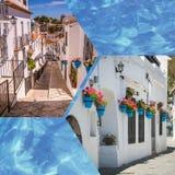 Collage de Mijas avec des pots de fleur dans les façades Village blanc andalou Costa del Sol Photographie stock libre de droits