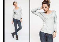 Collage de mode avec de belles jeunes femmes Belles filles sexy Photos stock
