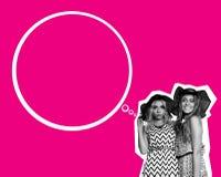 Collage de mode d'art de deux filles de meilleurs amis Image libre de droits
