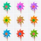 Collage de molinillos de viento coloridos en el fondo blanco Imagenes de archivo