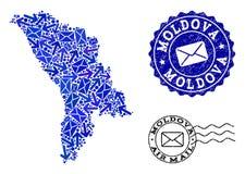 Collage de mouvement de courrier de carte de mosaïque de Moldau et de joints grunges illustration de vecteur