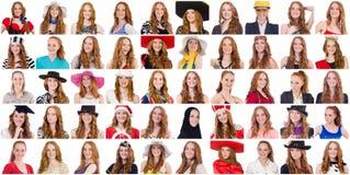 Collage de muchas caras del mismo modelo Fotos de archivo libres de regalías