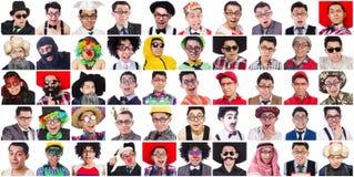 Collage de muchas caras del mismo modelo Foto de archivo libre de regalías