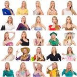 Collage de muchas caras del mismo modelo imagenes de archivo