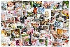 Collage de muchas fotos de la boda Fotos de archivo