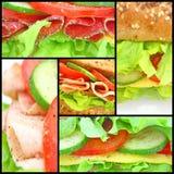 Collage de muchos diversos sandwichs frescos Imagen de archivo libre de regalías