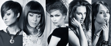 Collage de mujeres hermosas elegantes imágenes de archivo libres de regalías
