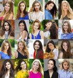 Collage de mujeres jovenes hermosas entre dieciocho y treinta sí foto de archivo