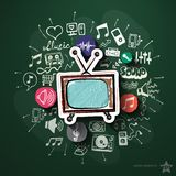 Collage de musique et de divertissement avec des icônes dessus Photographie stock libre de droits