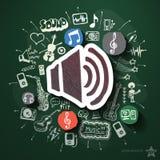 Collage de musique et de divertissement avec des icônes dessus Photo stock