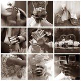 Collage de neuf photos wedding Photographie stock libre de droits