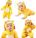 Collage de niños, vestido en el traje del carnaval del león, aislado en el fondo blanco. Zodiaco del bebé - muestra Leo. Foto de archivo libre de regalías