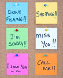 Collage de note de post-it avec des messages Images libres de droits