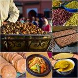 Collage de nourriture, saveurs marocaines cuisine de voyage photo libre de droits