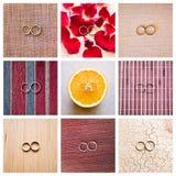 Collage de nueve anillos de bodas Imagen de archivo libre de regalías