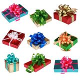 Collage de nueve presentes coloridos imagen de archivo libre de regalías