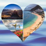 Collage de o Tenerife España Europa Imagen de archivo