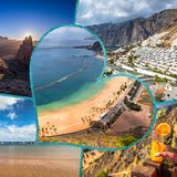Collage de o Tenerife España Europa Imagenes de archivo