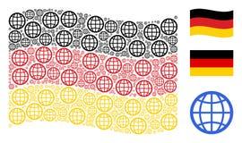 Collage de ondulation de drapeau de l'Allemagne des articles de globe illustration libre de droits