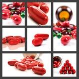 Collage de píldoras rojas Imagen de archivo libre de regalías
