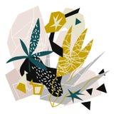 Collage de papel de los elementos florales abstractos mano del ejemplo del vector dibujada stock de ilustración