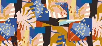 Collage de papier d'éléments floraux abstraits Images libres de droits