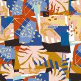 Collage de papier d'éléments floraux abstraits Photographie stock