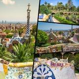 Collage de parc Guell à Barcelone, Espagne Photos libres de droits