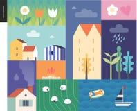 Collage de paysage d'été d'Idillic Photo stock