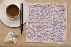 Collage de pensamiento de la palabra en servilleta Fotos de archivo