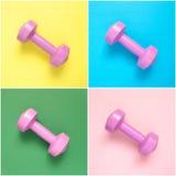 Collage de pesas de gimnasia rosadas Imágenes de archivo libres de regalías