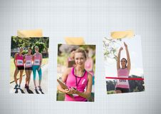 Collage de photo de conscience de cancer du sein de course de marathon du ` s de femmes Photographie stock libre de droits