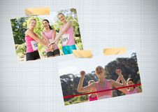 Collage de photo de conscience de cancer du sein de course de marathon du ` s de femmes Photographie stock