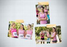 Collage de photo de conscience de cancer du sein de course de marathon du ` s de femmes Photo libre de droits
