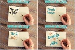 Collage de photo des messages de motivation manuscrits Image stock