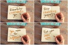 Collage de photo des messages de motivation manuscrits illustration de vecteur