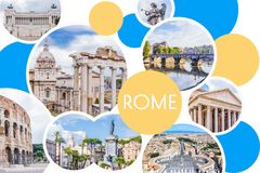 Collage de photo de Rome - Roman Forum ensoleillés, Colosseum, pont en pierre d'ange de saint, Panthéon, Piazza Venezia, place du Image libre de droits