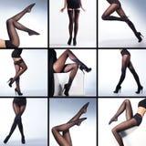 Collage de piernas femeninas en medias Fotos de archivo