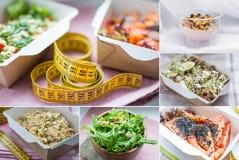 Collage de plat sain de nutrition image stock