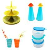 Collage de platos plásticos Imagen de archivo libre de regalías