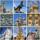 Collage de points de repère de St Petersbourg photographie stock