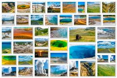 Collage de points de repère de Yellowstone Image libre de droits