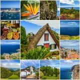 Collage de points de repère et de paysages d'île de la Madère, Portugal photos libres de droits