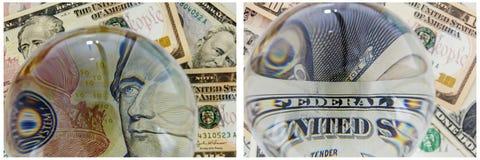 Collage de portrait de Hamilton d'argent de billets de banque Photographie stock libre de droits