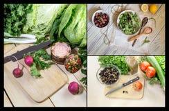 Collage de préparation de salade photos stock