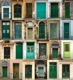 Collage de puertas de madera verdes Imágenes de archivo libres de regalías