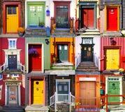 Collage de puertas en Røros. Noruega Imagen de archivo libre de regalías