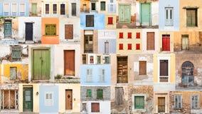 Collage de puertas y de ventanas retras viejas imagenes de archivo